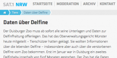 Oberverwaltungsgericht bestätigt nach WDSF-Klage: Zoo Duisburg muss sämtliche Unterlagen zur Delfinhaltung veröffentlichen