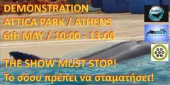 Demo vor dem Attica Park in Athen mit einem der übelsten Delfinarien weltweit